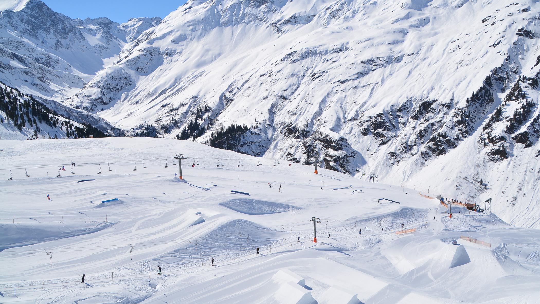 Arlberg Skigebiet von oben